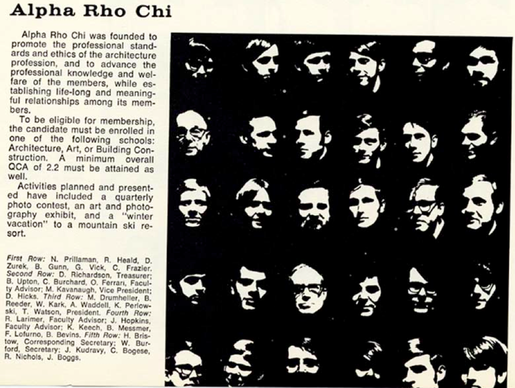 Alpha Rho Chi from Page 260 of The Bugle of Virginia Tech